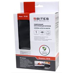 Универсальный блок питания для ноутбуков HP (5bites PA70H-02) (черный) - Сетевая, автомобильная зарядка для ноутбукаСетевые и автомобильные зарядки для ноутбуков<br>Мощность (Вт): 70, входные параметры: 100-240В, 50-60Гц, 1.5А, выходное напряжение (В): 18.5/19/19.5, выходной ток макс. (А): 4.9, защита: от перегрузки по току, перенапряжения, перегрева, короткого замыкания. Количество переходников: 7, тип переходников: M4/M12/M14/M20/M24/M29/M30.