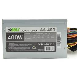 AirMax AA-400W - Блок питанияБлоки питания<br>Блок питания, 400 Вт, ATX, 24+4+6 пин, 120 мм, защита от короткого замыкания (SCP), защита от подачи пониженного и повышенного напряжения (UVP/OVP), защита от перегрузки по току (OCP), ATX 12V v.2.3, 1 вентилятор 120x120.