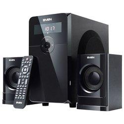 Sven MS-2000 (черный) - Колонка для компьютераКомпьютерная акустика<br>Sven MS-2000 - компьютерная акустика 2.1, суммарная мощность 40 Вт, однополосные колонки, материал корпуса колонок: MDF, материал корпуса сабвуфера: MDF, диапазон частот 50 - 20000 Гц, пульт ДУ