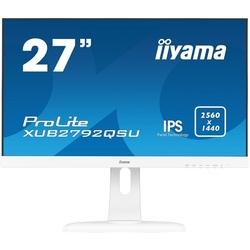 Iiyama XUB2792QSU-W1 (белый) - МониторМониторы<br>Монитор LCD 27quot;, 16:9, 2560x1440, IPS, 350cd/m2, 178°/178°, 1000:1, 5М:1, 1.07 биллион, 5мс, DVI, DisplayPort, HDMI, USB хаб, колонки 2х2Вт.