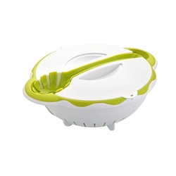 Набор для салатов и пасты AXON A-602 (белый, зеленый) - Посуда для готовкиПосуда для готовки<br>В набор входит емкость с крышкой в которой удобно перемешивать салаты, лёгкий друшлаг с ручками, а так же кулинарная ложка для сервировки готовых салатов и макаронных изделий.