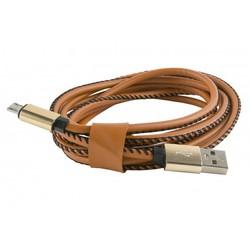 Дата-кабель USB - micro USB (Red Line YT000014170) (оплетка экокожа, коричневый) - КабелиUSB-, HDMI-кабели, переходники<br>Позволит подключить к персональному компьютеру любые устройства с разъемом micro USB.