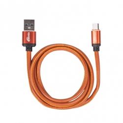 Кабель microUSB-USB 1м (Ritmix RCC-415) (оранжевый) - КабелиUSB-, HDMI-кабели, переходники<br>Кабель для зарядки и синхронизации, металлические коннекторы, оплетка из экокожи, длина кабеля: 1 метр, ток: 2.5 A.