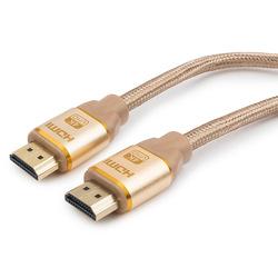 Кабель HDMI (M)-HDMI (M) 1.8м (Cablexpert CC-G-HDMI03-1.8M) (золотистый) - HDMI кабель, переходникHDMI кабели и переходники<br>Кабель HDMI (M)-HDMI (M), поддержка 3D изображения, поддержка Fast Ethernet-соединения, технология реверсивного звукового канала (ARC), 8-ми канальный звук, версия 1.4, алюминиевый корпус, нейлоновая оплетка, длина 1.8м.