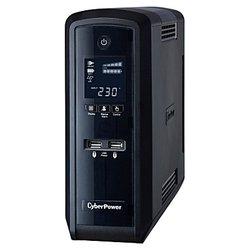 CyberPower CP1300EPFC - Источник бесперебойного питания, ИБПИсточники бесперебойного питания<br>CyberPower CP1300EPFC - интерактивный источник бесперебойного питания, 1-фазное входное напряжение, выходная мощность 1300 ВА 780 Вт, выходных разъемов: 6 (с питанием от батарей - 3), интерфейсы: USB, RS-232, время зарядки 10 ч, форма выходного сигнала: ступенчатая аппроксимация синусоиды