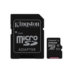 Kingston microSDXC 256Gb class 10 UHS-I + SD adapter (SDCS/256GB) - Карта флэш-памятиКарты флэш-памяти<br>Карта памяти microSDXC, объем 256Гб, UHS-I, в комплекте SD адаптер.