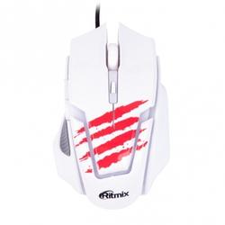 Ritmix ROM-350 White USB - МышьМыши<br>Ritmix ROM-350 White USB - проводная мышь для правой руки, интерфейс USB, для настольного компьютера, светодиодная, 6 клавиш, разрешение сенсора мыши 2400 dpi, размеры (ШxВxД): 53x40x112 мм.
