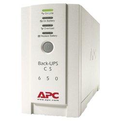 APC Back-UPS CS 650VA 230V - Источник бесперебойного питания, ИБПИсточники бесперебойного питания<br>APC Back-UPS CS 650VA 230V - резервный источник бесперебойного питания, 1-фазное входное напряжение, выходная мощность 650 ВА 400 Вт, 4.7 мин работы при полной нагрузке, 14.7 мин работы при половинной нагрузке, выходных разъемов: 4 (с питанием от батарей - 3), интерфейсы: USB, RS-232