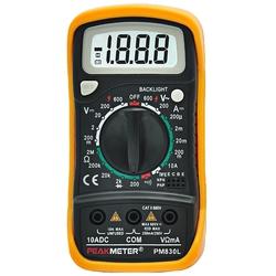 Мультиметр PEAKMETER PM830L - Мультиметр, тестерМультиметры и тестеры<br>Мультиметр цифровой, тип: портативный, разрядность шкалы: 2000 отсчетов, максимальное измеряемое постоянное напряжение: 600 В, максимальное измеряемое переменное напряжение: 600 В.