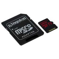 Kingston microSDXC 128GB UHS-I U3 + SD adapter (SDCR/128GB)  - Карта флэш-памятиКарты флэш-памяти<br>Карта памяти microSDXC, объем 128Гб, UHS-I U3 V30, в комплекте SD адаптер.