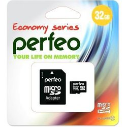 Perfeo microSDHC 32Gb Class 10 + SD adapter (PF32GMCSH10AES) - Карта флэш-памятиКарты флэш-памяти<br>Карта памяти microSDHC, объем 32Гб, Class 10, в комплекте адаптер SD.
