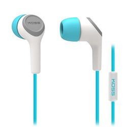 Koss KEB15i (бирюзовый) - НаушникиНаушники и Bluetooth-гарнитуры<br>Koss KEB15i - наушники с микрофоном, вставные (quot;затычкиquot;), импеданс 16 Ом, чувствительность 110 дБ, кабель 1.2 м, поддержка iPhone.