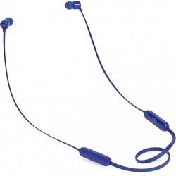 JBL T110BT (синий) - НаушникиНаушники и Bluetooth-гарнитуры<br>JBL T110BT - Bluetooth-наушники с микрофоном, вставные (затычки), время работы 6 ч, чувствительность 96 дБ/мВт, импеданс 16 Ом, поддержка Bluetooth 4.0, вес 16.2 г.