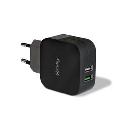 Сетевое зарядное устройство 2хUSB, 3.4А (Celly TC2USBTURBOBK) (черный) - Сетевое зарядное устройствоСетевые зарядные устройства<br>Адаптер поддерживает два устройства USB одновременно, ток заряда 1+2.4А, встроенная функция защиты от перегрузок и короткого замыкания.