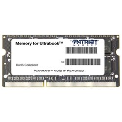 Patriot Memory PSD38G1600L2S - Память для компьютераМодули памяти<br>Patriot Memory PSD38G1600L2S - 1 модуль памяти DDR3, объем модуля 8 Гб, форм-фактор SODIMM, 204-контактный, частота 1600 МГц, CAS Latency (CL): 11