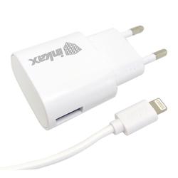 Сетевое зарядное устройство, адаптер 1хUSB, 1А (Inkax CD-08) (белый) + кабель USB-Lightning  - Сетевое зарядное устройствоСетевые зарядные устройства<br>Inkax CD-08 - сетевой адаптер, питание - от сети переменного тока, количество портов USB - 1, ток заряда - 1А, материал корпуса - пластик. Кабель USB-Lightning в комплекте.