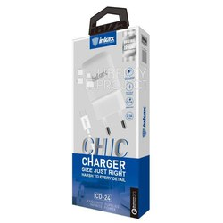 Сетевое зарядное устройство, адаптер 1хUSB, 2.1А (Inkax CD-24) (белый) + кабель USB-microUSB - Сетевое зарядное устройствоСетевые зарядные устройства<br>Inkax CD-24 - сетевой адаптер, питание - от сети переменного тока, количество портов USB - 1, ток заряда - 2.1А, материал корпуса - пластик. Кабель USB-microUSB в комплекте.