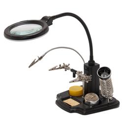 Лупа настольная ZD-10Y - Микроскоп для ремонтаМикроскопы для ремонта<br>Настольная лампа-лупа на гибком штативе с паяльными аксессуарами. На подставке лампы-лупы расположены третья рука (три фиксатора с крокодилами), подставка под паяльник, губка для чистки жала паяльника, очиститель жала, канифоль.