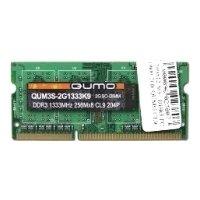 Qumo DDR3 1333 SO-DIMM 4Gb - Память для компьютераМодули памяти<br>Qumo DDR3 1333 SO-DIMM 4Gb - 1 модуль памяти DDR3, объем модуля 4 Гб, форм-фактор SODIMM, 204-контактный, частота 1333 МГц, CAS Latency (CL): 9