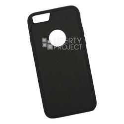 Чехол накладка для Apple iPhone 6 Plus, 6s Plus (0L-00038592) (черный, голубой) - Чехол для телефонаЧехлы для мобильных телефонов<br>Предназначен для защиты мобильного телефона от негативного воздействия внешних факторов (пыль, грязь).