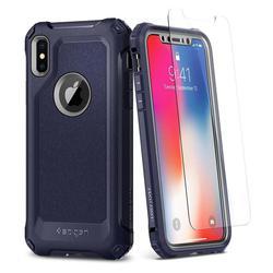 Чехол-накладка для Apple iPhone X (Spigen Pro Guard 057CS22653) (синий) - Чехол для телефонаЧехлы для мобильных телефонов<br>Защитит устройство от пыли, влаги, царапин и других внешних воздействий.
