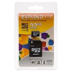EXPLOYD microSDHC Class 10 32GB + SD adapter - Карта флэш-памятиКарты флэш-памяти<br>EXPLOYD microSDHC Class 10 32GB + SD adapter - карта памяти microSDHC, Class 10, объем 32 Гб, в комплекте адаптер на SD