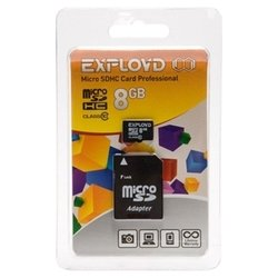 EXPLOYD microSDHC Class 10 8GB + SD adapter - Карта флэш-памятиКарты флэш-памяти<br>EXPLOYD microSDHC Class 10 8GB + SD adapter - карта памяти microSDHC, Class 10, объем 8 Гб, в комплекте адаптер на SD
