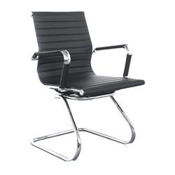 Бюрократ CH-883-LOW-V (черный) - Стул офисный, компьютерныйКомпьютерные кресла<br>Полозья хром. Подлокотники хром с чехлами. Ограничение по весу: 100 кг. Материал обивки: искусственная кожа.