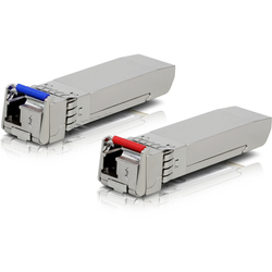 Ubiquiti UF-SM-10G-S - Медиаконвертер, трансиверМедиаконвертеры, трансиверы<br>Пара оптических модулей в форм-факторе SFP+, скорость передачи данных до 10 Гбит/с, длина волны: передача 1270 нм/прием 1330 нм для модуля с голубой маркировкой, передача 1330 нм/прием 1270 нм для модуля с красной маркировкой.