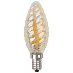 ЭРА F-LED BTW-5w-827-E14 (золотистый) - ЛампочкаЛампочки<br>Светодиодная лампочка, мощность 5Вт, цоколь Е14, тип: свеча витая, материал: стекло, пластик, металл.