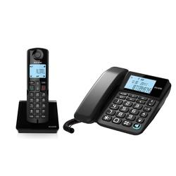 ALCATEL S250 COMBO (черный) - РадиотелефонРадиотелефоны<br>Комбинированный телефон, который сочетает в себе проводной базовый блок и беспроводную трубку. ALCATEL S250 COMBO оснащен дисплеем с большим размером символов для максимального визуального комфорта, функцией громкой связи для одновременного участия нескольких людей в разговоре, автоматическим определением номера, чтобы знать, кто звонит, а также имеет память на 50 имен и номеров для быстрой связи с вашими любимыми абонентами.
