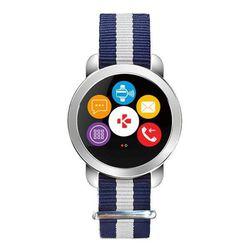 MyKronoz ZeCircle 2 Premium (корпус серебристый, ремешок бело-голубой) - Умные часы, браслетУмные часы и браслеты<br>Умные часы, влагозащищенные, сенсорный OLED-экран, поддержка уведомлений, совместимость с Android, iOS, Windows Phone, Windows.
