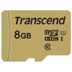 Карта памяти Transcend TS8GUSD500S - Карта флэш-памятиКарты флэш-памяти<br>Карта памяти Transcend TS8GUSD500S - microSDHC, 8 ГБ, скорость чтения 95 МБ/с, скорость записи 60 МБ/с, UHS Class 1