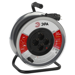 Силовой удлинитель 4 розетки 30м (ЭРА RM-4-3x1.5-30m-IP44) (черный) - Сетевой фильтрУдлинители и сетевые фильтры<br>4 розетки с заземлением, максимальная мощность: 16 A/3500 Вт, материал: пластик, сечение провода: 3x1мм2, степень защиты: IP20.