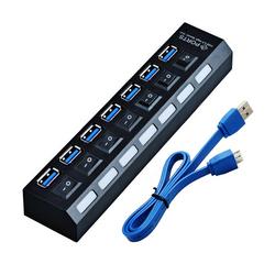 Orient BC-317 (черный) - USB HUBUSB-концентраторы<br>7-ми портовый USB 3.0 концентратор, встроенные выключатели на каждый порт, световая индикация включенных портов, питание: от внешнего блока питания DC 5 В, 3A.