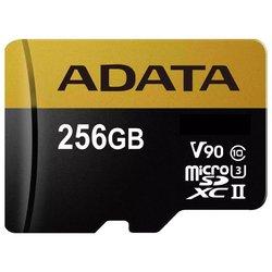 Карта памяти ADATA Premier ONE microSDXC UHS-II U3 Class 10 256GB + SD adapter - Карта флэш-памятиКарты флэш-памяти<br>Карта памяти ADATA Premier ONE microSDXC UHS-II U3 Class 10 256GB + SD adapter - microSDXC, 256 ГБ, скорость чтения 275 МБ/с, скорость записи 155 МБ/с, UHS-II, V90