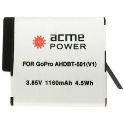 Аккумулятор для GoPro Hero 5, Hero 6 (AcmePower AP-AHDBT-501) - Аккумулятор для видеокамерыАккумуляторы для видеокамер<br>Аккумулятор рассчитан на продолжительную работу и легко восстанавливает работоспособность после глубокого разряда. Емкость - 1160 мАч.