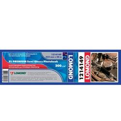 Фотобумага полуглянцевая (430мм х 30м) (Lomond 1214149) - БумагаОбычная, фотобумага, термобумага для принтеров<br>Фотобумага для плоттера, полуглянцевая, 200 г/м2, для водорастворимых и пигментных чернил, для изготовления фотокниг.