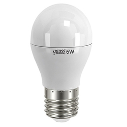 Gauss LED Elementary Globe 6W E27 4100K - ЛампочкаЛампочки<br>Светодиодная лампочка, мощность 6Вт, цоколь E27, форма: шар.