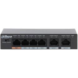 Dahua DH-PFS3006-4ET-60 - МаршрутизаторМаршрутизаторы и коммутаторы<br>6-и портовый коммутатор, 2 x RJ45 100 Base-T - Uplink/4 x 10/100 Base-T ( 1 x Hi-PoE + 3 x PoE (802.3af/at), стандарты: IEEE 802.3, IEEE 802.3u, IEEE 802.3ab, IEEE 802.3x, IEEE 802.3af, IEEE 802.3at.