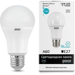 Gauss LED Elementary A60 12W E27 4100K - ЛампочкаЛампочки<br>Светодиодная лампочка, цоколь: E27, мощность: 12 Вт, цветовая температура 4100К.