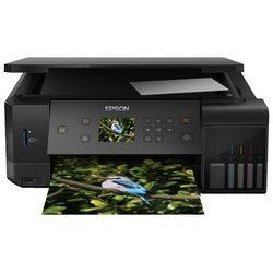 МФУ Epson L7160 - Принтер, МФУПринтеры и МФУ<br>МФУ Epson L7160 - принтер/сканер/копир, A4, печать  пьезоэлектрическая струйная цветная, двусторонняя, 5-цветная, 32 стр/мин ч/б, 32 стр/мин цветн., 13 изобр./мин ч/б, 10 изобр./мин цветн., 5760x1440 dpi, подача: 100 лист., вывод: 50 лист., Ethernet RJ-45, USB, Wi-Fi, картридер, печать фотографий, печать на CD/DVD, цветной ЖК-дисплей