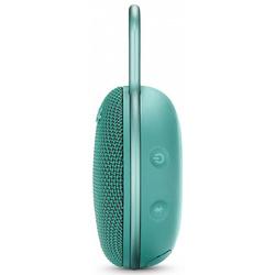 JBL CLIP 3 (бирюзовый) - Колонка для телефона и планшетаПортативная акустика<br>Портативная акустика моно, мощность 3.30 Вт, питание от батарей, линейный вход, Bluetooth, влагозащищенный корпус.