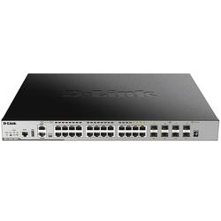 D-Link DGS-3630-28PC/A1ASI - МаршрутизаторМаршрутизаторы и коммутаторы<br>Управляемый стекируемый коммутатор 3 уровня с 20 портами 10/100/1000Base-T, 4 комбоamp;#8209;портами 100/1000Base-T/SFP и 4 портами 10GBase-X SFP+ (24 порта с поддержкой PoE 802.3af/at).