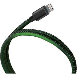 Кабель USB-Lightning 1м (Qumo 24109) (черно-зеленый) - КабелиUSB-, HDMI-кабели, переходники<br>Кабель USB-Lightning, тип USB 2.0, ток 2.1А, термочувствительный, меняет свой цвет при нагреве или зарядке устройств.