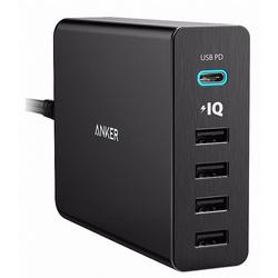 Универсальное сетевое зарядное устройство, адаптер 5хUSB, 2.4A (Anker PowerPort+ 5 USB-C A2053G11) (черный) - Сетевой адаптер 220v - USB, ПрикуривательСетевые адаптеры 220v - USB, Прикуриватель<br>Anker PowerPort+ 5 USB-C представляет собой удобное зарядное устройство, работающее от сети переменного тока. В условиях, когда жизнь современного человека невозможна без большого количества гаджетов, необходимо своевременно заряжать их аккумуляторные батареи. Модель предназначена для быстрой зарядки устройств с поддержкой USB-C, а благодаря технологии Qualcomm Quick Charge 3.0 обеспечивается заряд совместимых устройств на 80% быстрее.