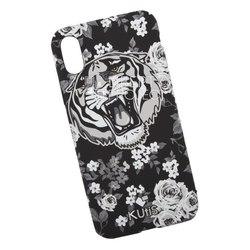 Чехол накладка для Apple iPhone X (KUtiS Monochrome AK-1 0L-00040299) (черный, белый, рисунок тигр) - Чехол для телефонаЧехлы для мобильных телефонов<br>Чехол обеспечит надежную защиту Вашего мобильного устройства от повреждений, загрязнений и других нежелательных воздействий.