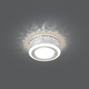 Gauss Backlight BL090 (белый) - ОсвещениеНастольные лампы и светильники<br>Встраиваемый светильник, цоколь GU5.3, мощность 3Вт, материал: алюминий/акрил, диаметр отверстия для установки 60мм.