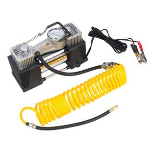 Starwind CC-320 - КомпрессорКомпрессоры<br>Максимальный ток потребления - 23 A, максимальное давление, атм. - 10.2, напряжение питания - 12 В, производительность - 65 л/мин, подключение - клеммы АКБ.