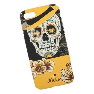Чехол накладка для Apple iPhone 7, 8 (KUtiS Skull BK-7 0L-00040259) (черный, оранжевый, рисунок череп) - Чехол для телефонаЧехлы для мобильных телефонов<br>Чехол обеспечит надежную защиту Вашего мобильного устройства от повреждений, загрязнений и других нежелательных воздействий.